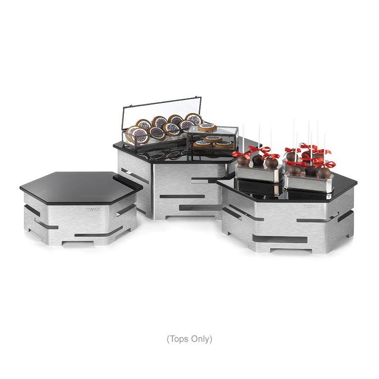 "Rosseto SG009 16"" Honeycomb Display Platter - Tempered Glass, Black"