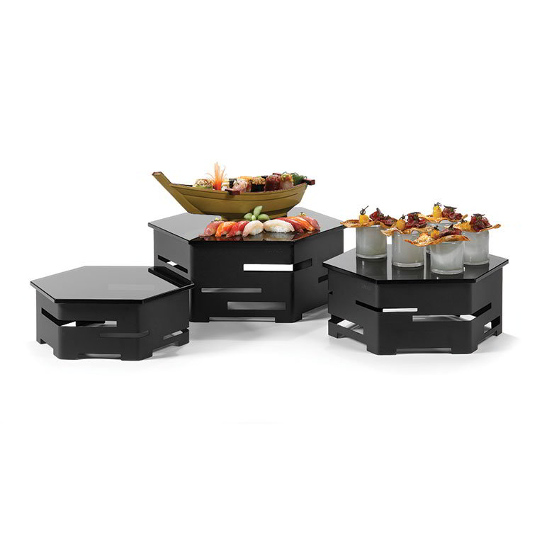 Rosseto SK018 6-Piece Centerpiece Riser Display Set - Black/Black Glass