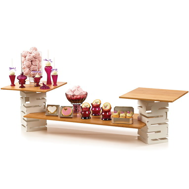 Rosseto SK029 5-Piece Display Riser Set - White/Bamboo