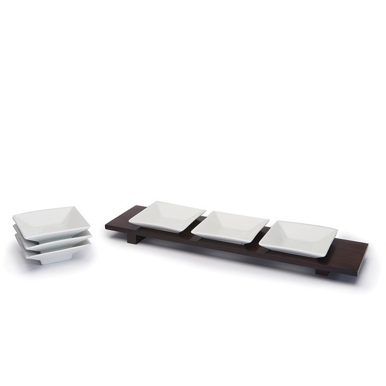 Rosseto SK037 Rectangular Bowl Tray w/ (6) Square Porcelain Bowls, Walnut Finish