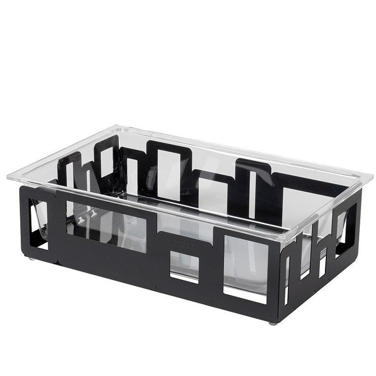 "Rosseto SM113 Rectangular Ice Tub - 21x13x6"" Acrylic/Black"
