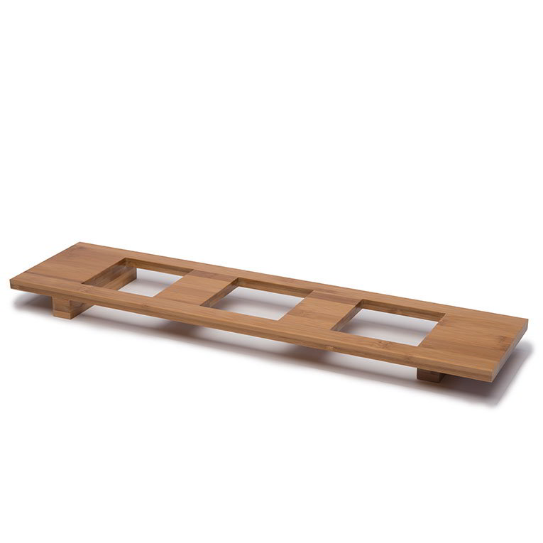 "Rosseto WP400 Rectangular Bowl Tray - Holds (3) 4.5"" Square Bowls, Natural Bamboo"