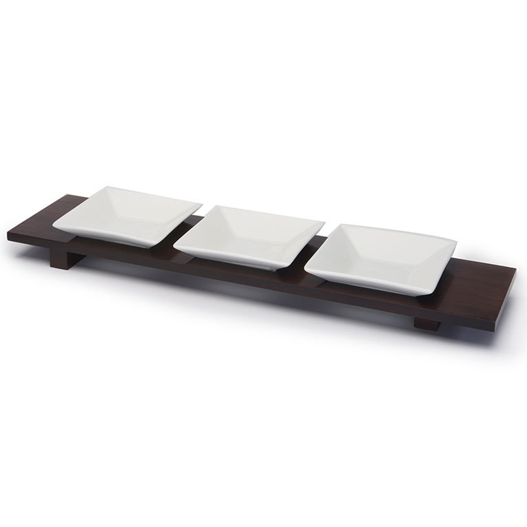 "Rosseto WP401 Rectangular Bowl Tray - Holds (3) 4.5"" Square Bowls, Walnut Finish"