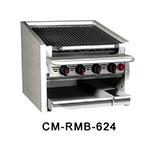 "Magikitch'n CM-SMB-624 24"" Counter Top Coal Charbroiler w/ Ceramic Briquettes & No Legs, LP"