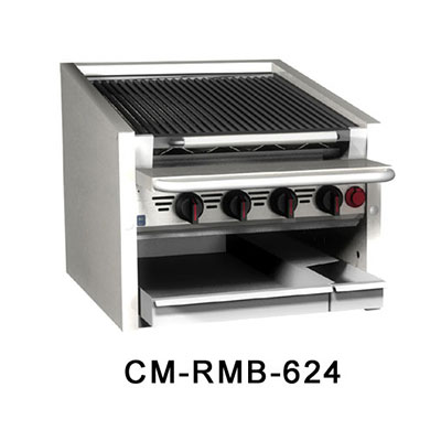 "Magikitch'n CM-SMB-636 36"" Counter Top Coal Charbroiler w/ Ceramic Briquettes & No Legs, LP"