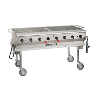 "Magikitch'n LPG-60-SS 60"" Mobile Gas Commercial Outdoor Grill w/ Water Pans, LP"
