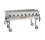 "Magikitch'n LPG-60 60"" Mobile Gas Commercial Outdoor Grill w/ Water Pans, LP"