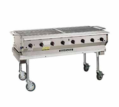 "Magikitch'n NPG-60 NG 60"" Mobile Gas Commercial Outdoor Grill w/ Water Pans, NG"