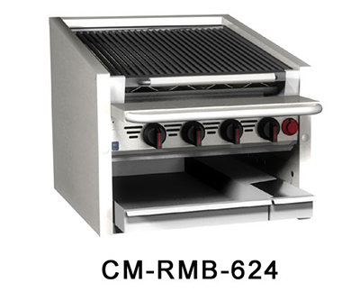 Magikitch'n CM-SMB-636 NG 36-in Counter Top Coal Charbroiler w/ Ceramic Briquettes & No Legs, NG