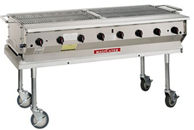 "Magikitch'n NPG-30 30"" Mobile Gas Commercial Outdoor Grill w/ Water Pans, NG"
