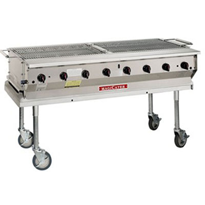 """Magikitch'n NPG-30 NG 30"""" Mobile Gas Commercial Outdoor Grill w/ Water Pans, NG"""