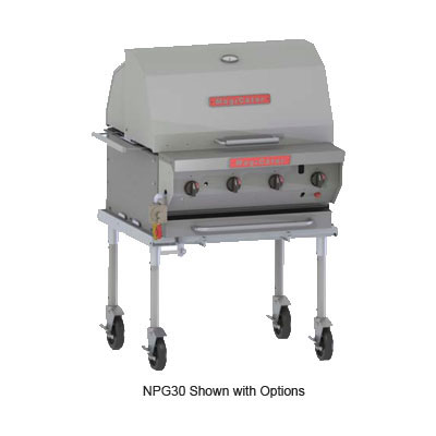 "Magikitch'n NPG-30-SS NG 30"" Mobile Gas Commercial Outdoor Grill w/ Water Pans, NG"