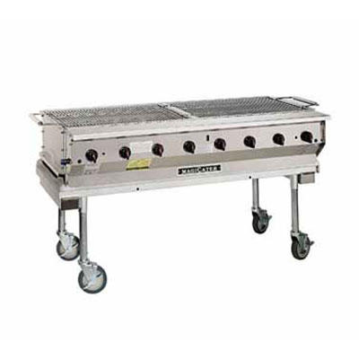 """Magikitch'n NPG-60 60"""" Mobile Gas Commercial Outdoor Grill w/ Water Pans, NG"""