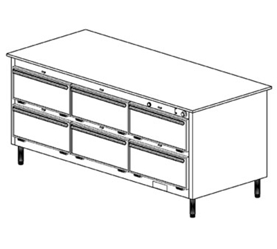 Duke 1103P 120 Pass Thru Heated Holding Cabinet, 1-Thermostat Per 6-Compartment, Legs, 120 V