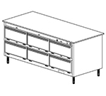 Duke 1103P 2081 Pass Thru Heated Holding Cabinet, 1-Thermostat Per 6-Compartment, Legs, 208/1 V