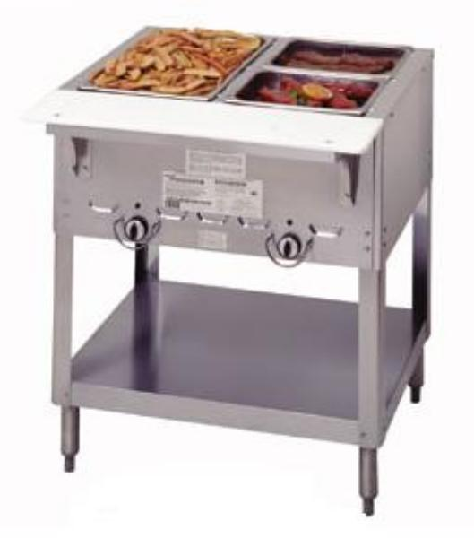 Duke 302 NG Aerohot Steamtable Hot Food Unit w/ 2 Wells & Carving Board, NG