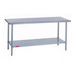 "Duke 314S-3072 72"" 14-ga Work Table w/ Undershelf & 300-Series Stainless Flat Top"