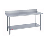 "Duke 316S30725R 72"" 16-ga Work Table w/ Undershelf & 300-Series Stainless Top, 5"" Backsplash"