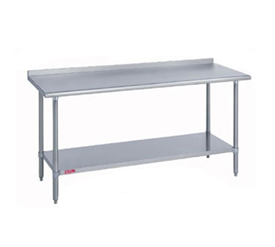 "Duke 418-2460-2R 60"" 18-ga Work Table w/ Undershelf & 400-Series Stainless Top, 1.125"" Backsplash"