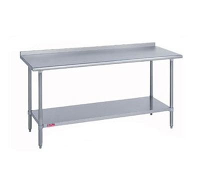 "Duke 418-3072-2R 72"" 18-ga Work Table w/ Undershelf & 400-Series Stainless Top, 1.125"" Backsplash"