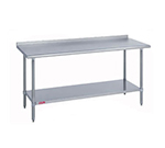 "Duke 418-3096-2R 96"" 18-ga Work Table w/ Undershelf & 400-Series Stainless Top, 1.125"" Backsplash"