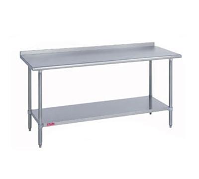 "Duke 418-3096-2R 96"" 18-ga Work Table w/ Undershelf & 400-Series Stainless Top, 1.125"" Backsplash"