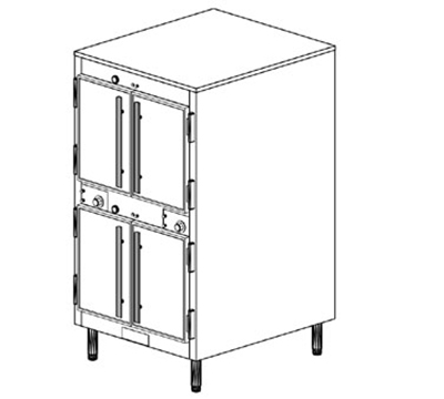 Duke 1262P 2081 Pass Thru Heated Holding Cabinet, 1-Thermostat Per 2-Compartment, Legs, 208/1 V