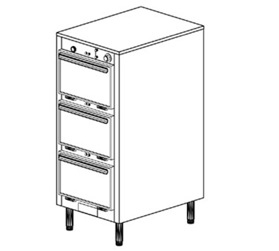 Duke 1303P 2401 Pass Thru Heated Holding Cabinet, 1-Thermostat Per 3-Compartment, Legs, 240/1 V