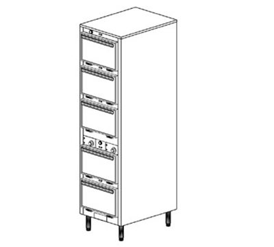 Duke 1305P 2081 Pass Thru Heated Holding Cabinet, 2-Thermostat Per 5-Compartment, Legs, 208/1 V