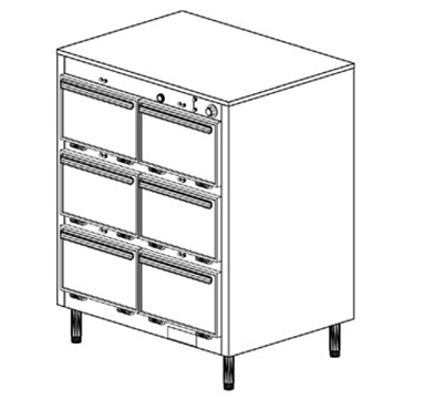 Duke 1306P 2083 Pass Thru Heated Holding Cabinet, 1-Thermostat Per 6-Compartments, Leg, 208/3 V