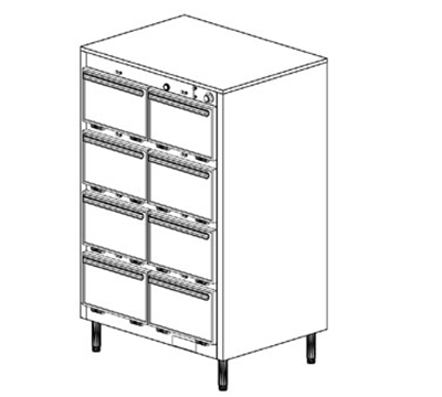 Duke 1308P 2081 Pass Thru Heated Holding Cabinet, 1-Thermostat Per 8-Compartments, Leg, 208/1 V