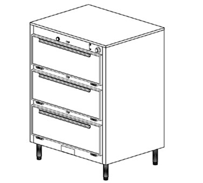 Duke 1353P 2403 Pass Thru Heated Holding Cabinet, 1-Thermostat Per 3-Compartments, Leg, 240/3 V