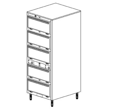 Duke 1455P 2083 Pass Thru Heated Holding Cabinet, 2-Thermostat Per 5-Compartments, Leg, 208/3 V