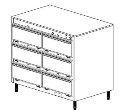Duke 1456P 2403 Pass Thru Heated Cabinet, 1-Thermostat Per 6-Compartments, Legs, 240/3 V