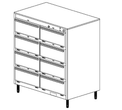 Duke 1458P2083 Pass Thru Heated Cabinet, 1-Thermostat Per 8-Compartments, Legs, 208/3 V