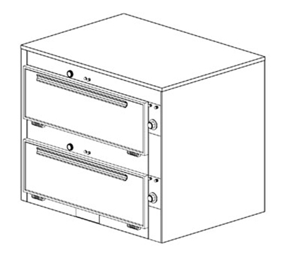 "Duke 2352P 2083 Pass Thru Heated Cabinet, 1-Thermostat Per 2-Compartment, 9x29x28.5"", 208/3 V"
