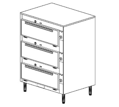 Duke 2353P 2403 Pass Thru Heated Cabinet, 1-Thermostat Per 3-Compartment, Legs, 240/3 V