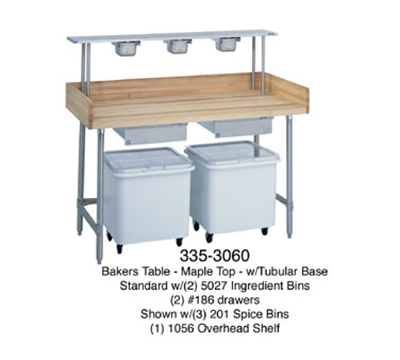 "Duke 335 60"" Maple Top Bakers Table w/ 5"" Splash & Open Base, 30""D"