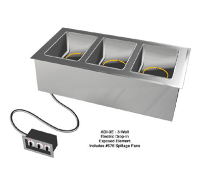 "Duke ADI-3E 120 46.25"" Hot Food Drop In Unit w/ Drain & (3) 12x20"" Wells, 120 V"
