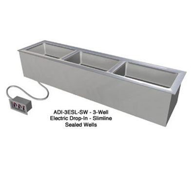 "Duke ADI-3ESL-SW 120 68.25"" Hot Food Drop In Unit w/ Drain & (3) 12x20"" Sealed Wells, 120 V"