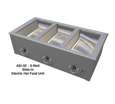 "Duke ASI-3E 2081 46.25"" Hot Food Slide In Unit w/ (3) 12x20"" Wells, Stainless Top, 208/1 V"
