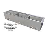 "Duke ASI-3ESL-SW 2401 68.25"" Hot Food Slide In Unit w/ Drain & (3) 12x20"" Sealed Wells, 240/1 V"