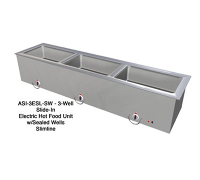 "Duke ASI-3ESL-SW 120 68.25"" Hot Food Slide In Unit w/ Drain & (3) 12x20"" Sealed Wells, 120 V"