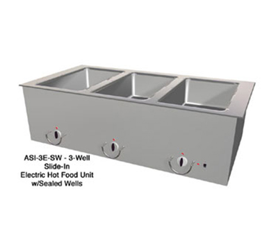 "Duke ASI-3E-SW 2081 46.25"" Hot Food Slide In Unit w/ Drain & (3) 12x20"" Sealed Wells, 208/1 V"