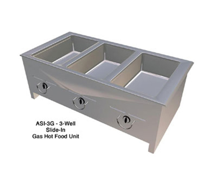 "Duke ASI-5G NG 74.25"" Hot Food Slide In Unit w/ (5) 12x20"" Wells, Stainless Top, NG"