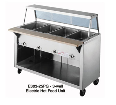 "Duke E304-25PG 2081 60"" Hot Food Unit w/ 4-Sealed Wells, Paint Grip Body & Shelf, 208/1 V"