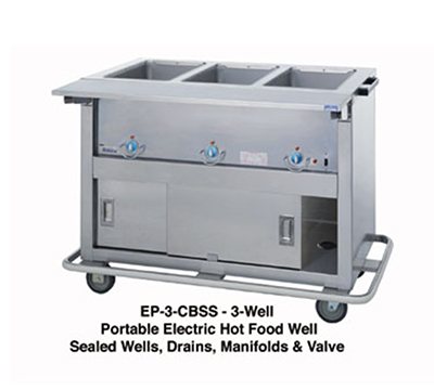 "Duke EP-6-CBSS 2401 88"" Portable Steamtable, Stainless Body, Undershelf & 6-Sealed Well, 240/1 V"