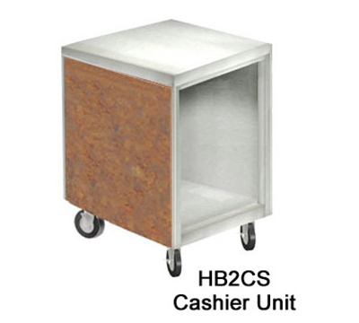 Duke HB2CS 7152-58 Cashier Unit w/ Stainless Top, Paint Grip Bottom Shelf & Body, Northern Oak