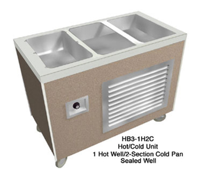 "Duke HB4-1H3C 2081 60"" Hot/Cold Unit, 1-Stainless Heat Well & 3-Section Ice Pan, 208/1 V"