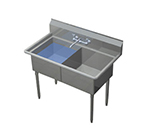 "Duke 162S-NDB 37.75"" 2-Compartment Sink w/ 16""L x 21""W Bowl, 14"" Deep"